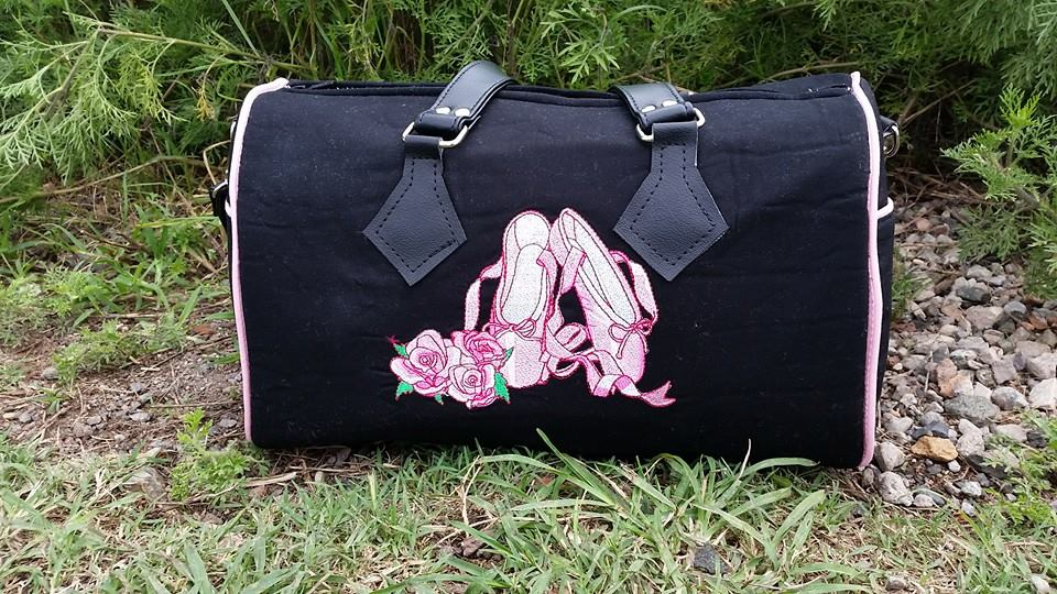 Big sport bag with ballet shoes embroidery design