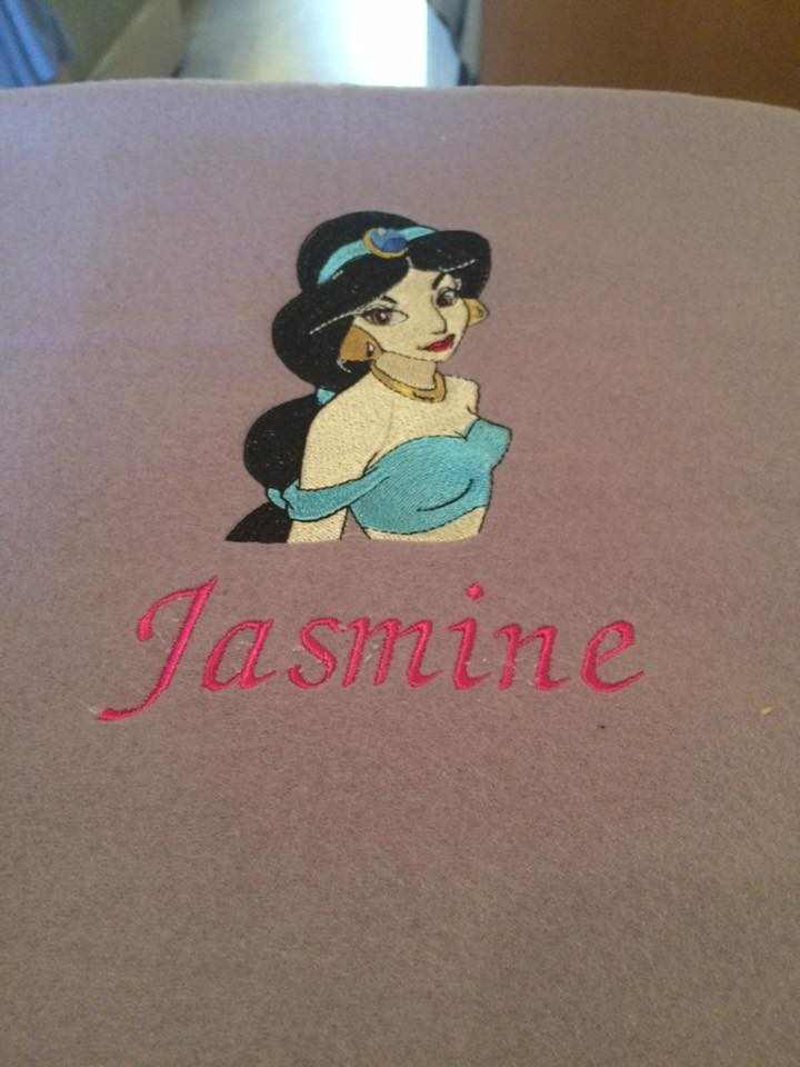 Towel with Jasmin embroidery design