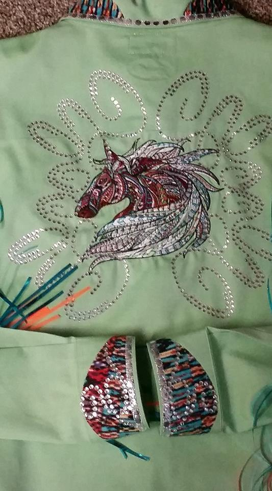 Dress with Mosaic horse embroidery design