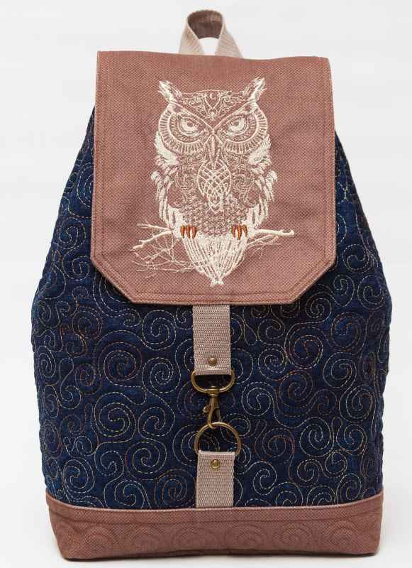 Stylish backpack with tribal bird machine embroidery