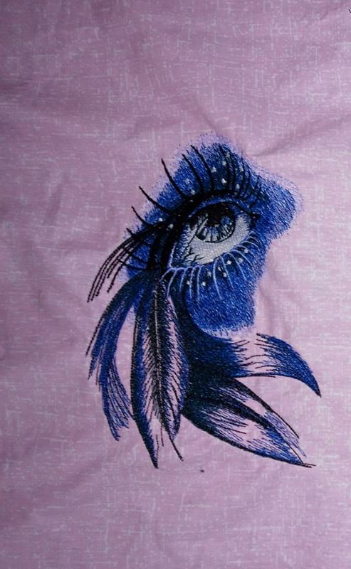 Embroidered eye of indian girl design