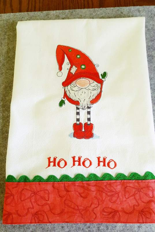 Embroidered towel with Christmas Gnome design