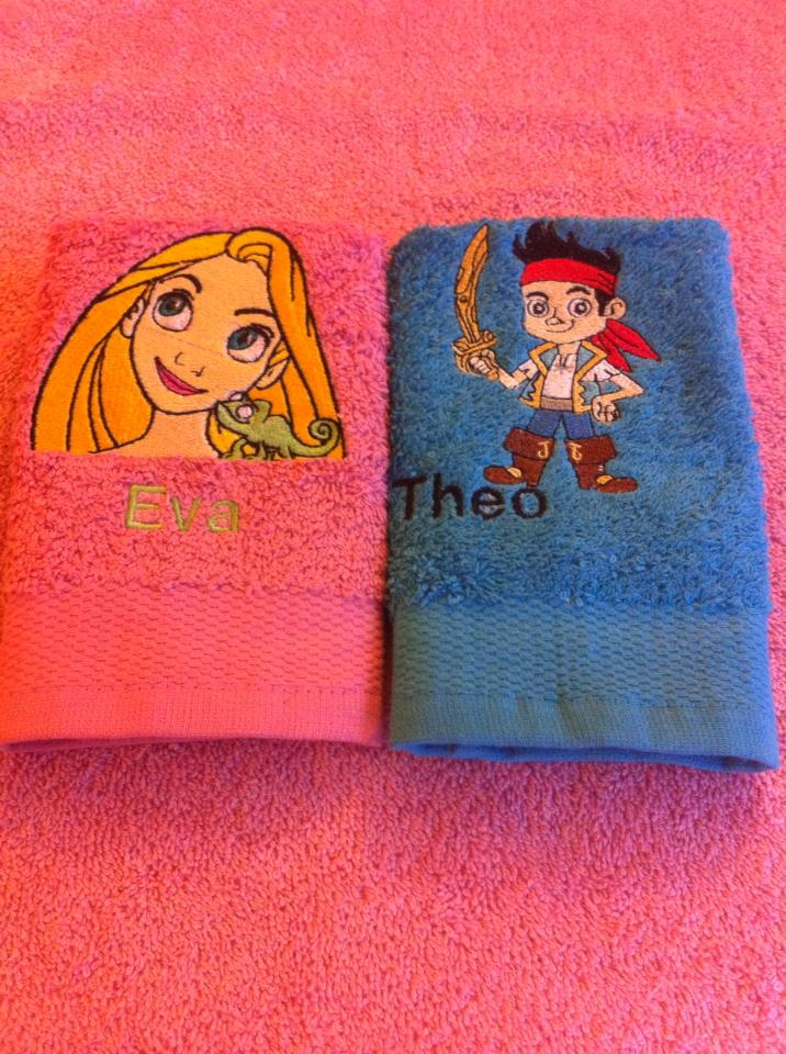 Jake, Rapunzel and chameleon designs embroidered on towel