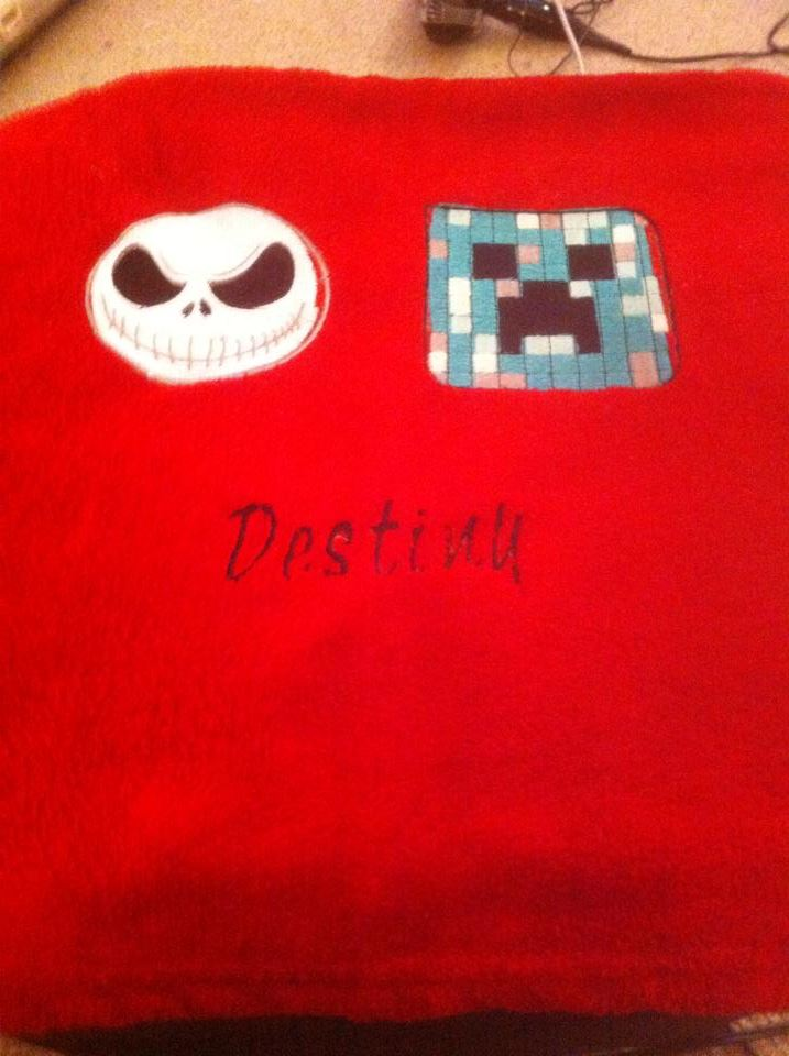 Jack Skellington and Creeper embroidered on red towels