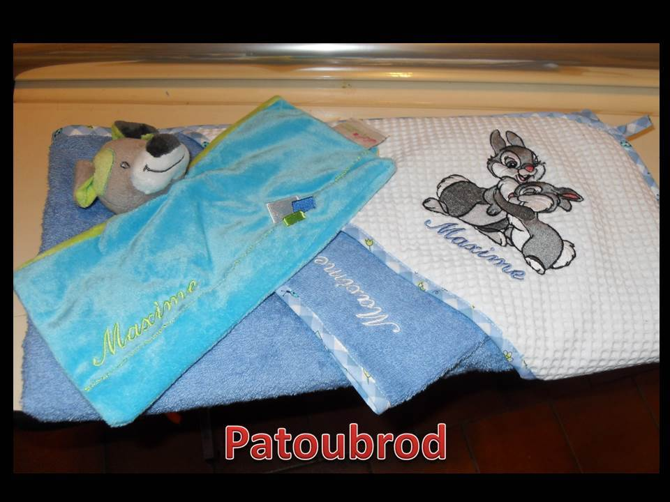 Boy's towel with embroidered bunnies