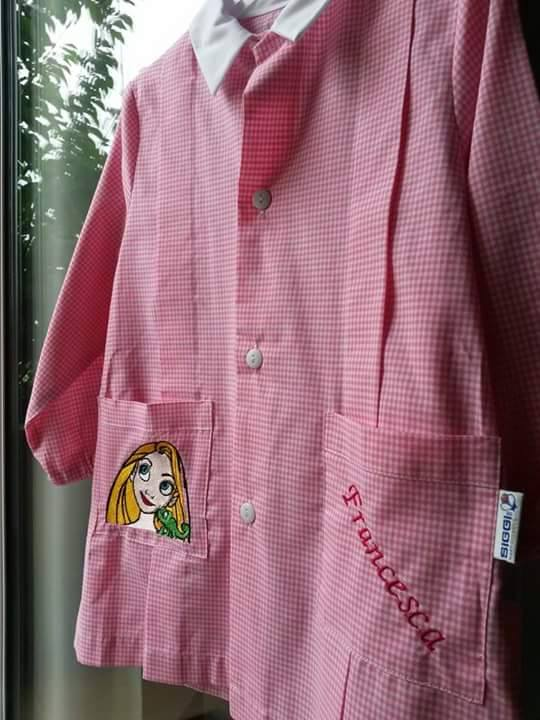 Rapunzel and Chameleon design on shirt embroidered