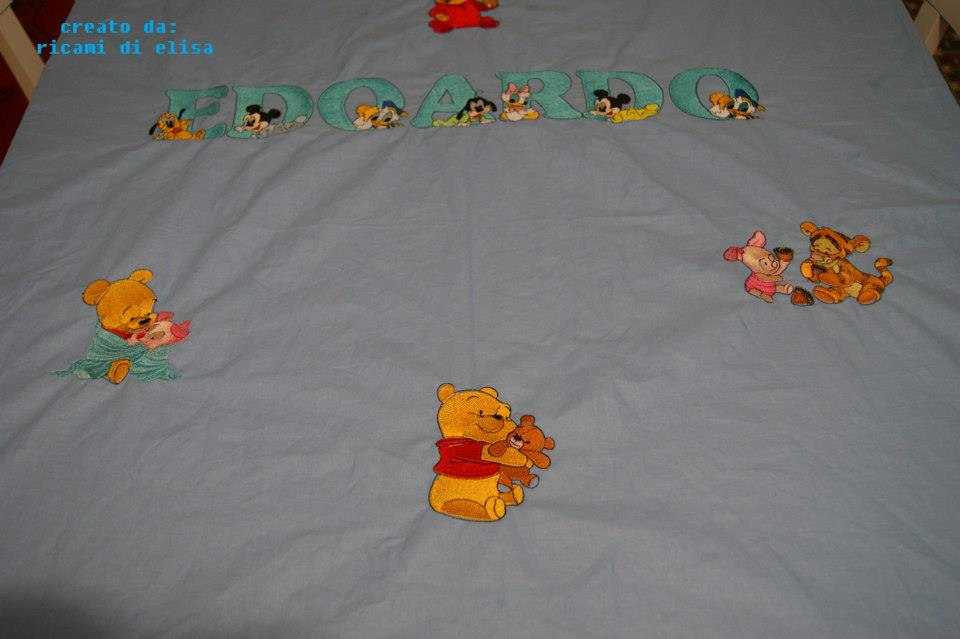 Winnie Pooh and his friends embroidered