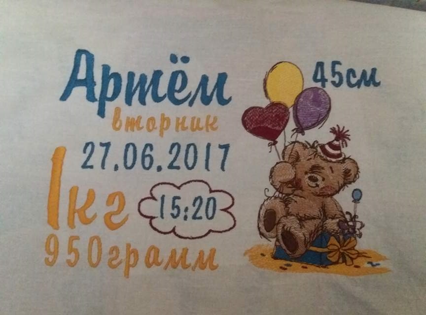 Newborn wall carpet with Teddy bear and balloons embroidery design