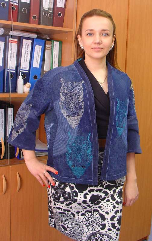 Denim jacket with owl machine embroidery design