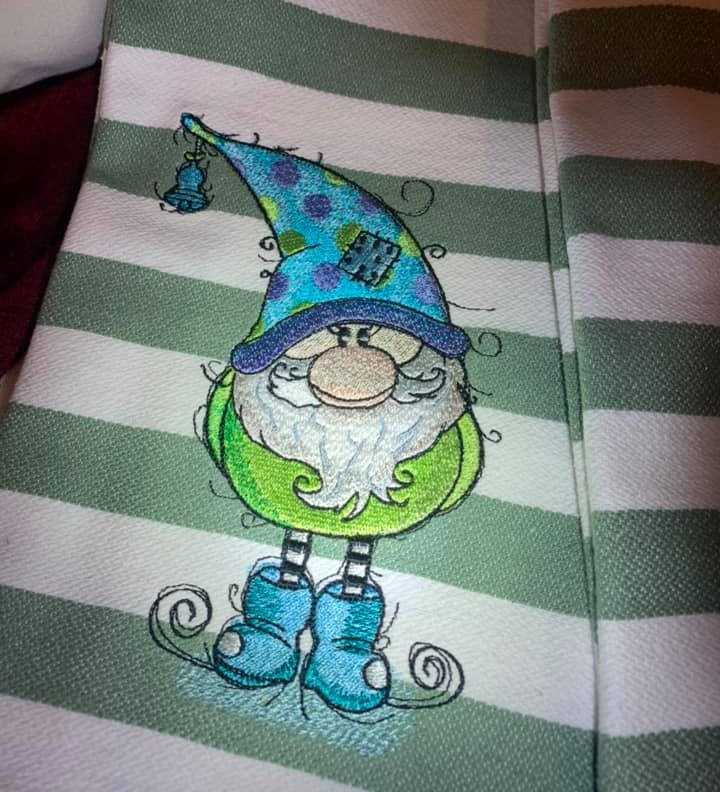 Cute gnome machine embroidery design