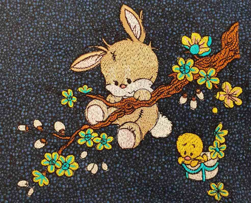 Embroidered funny bunny and little duck design