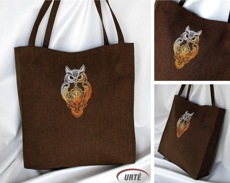 Embroidered cotton bag with owl design