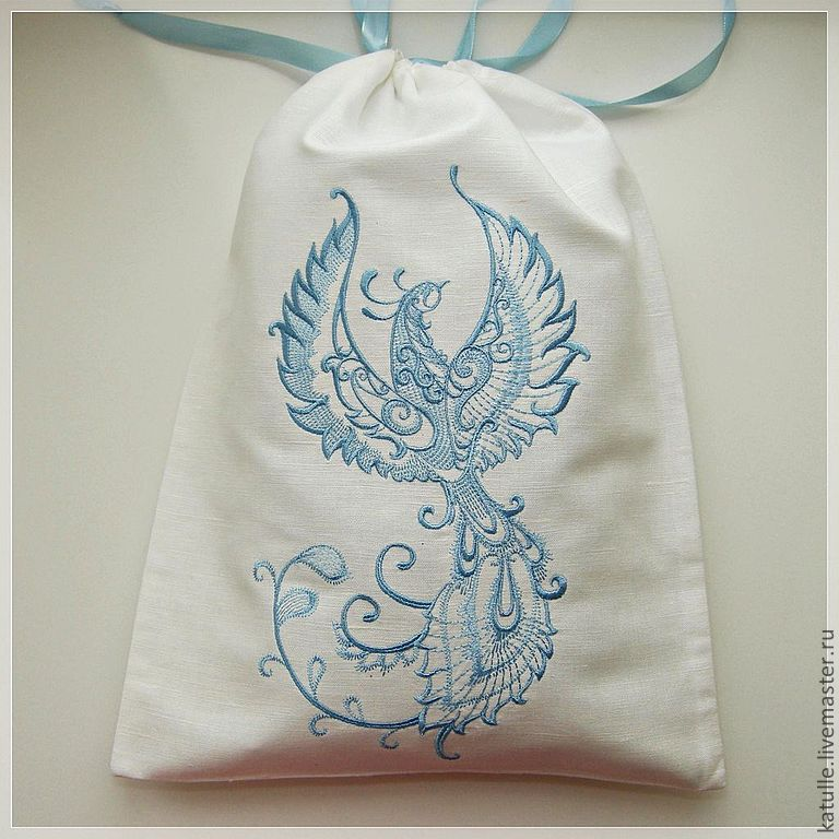 Blue embroidered Firebird on bag