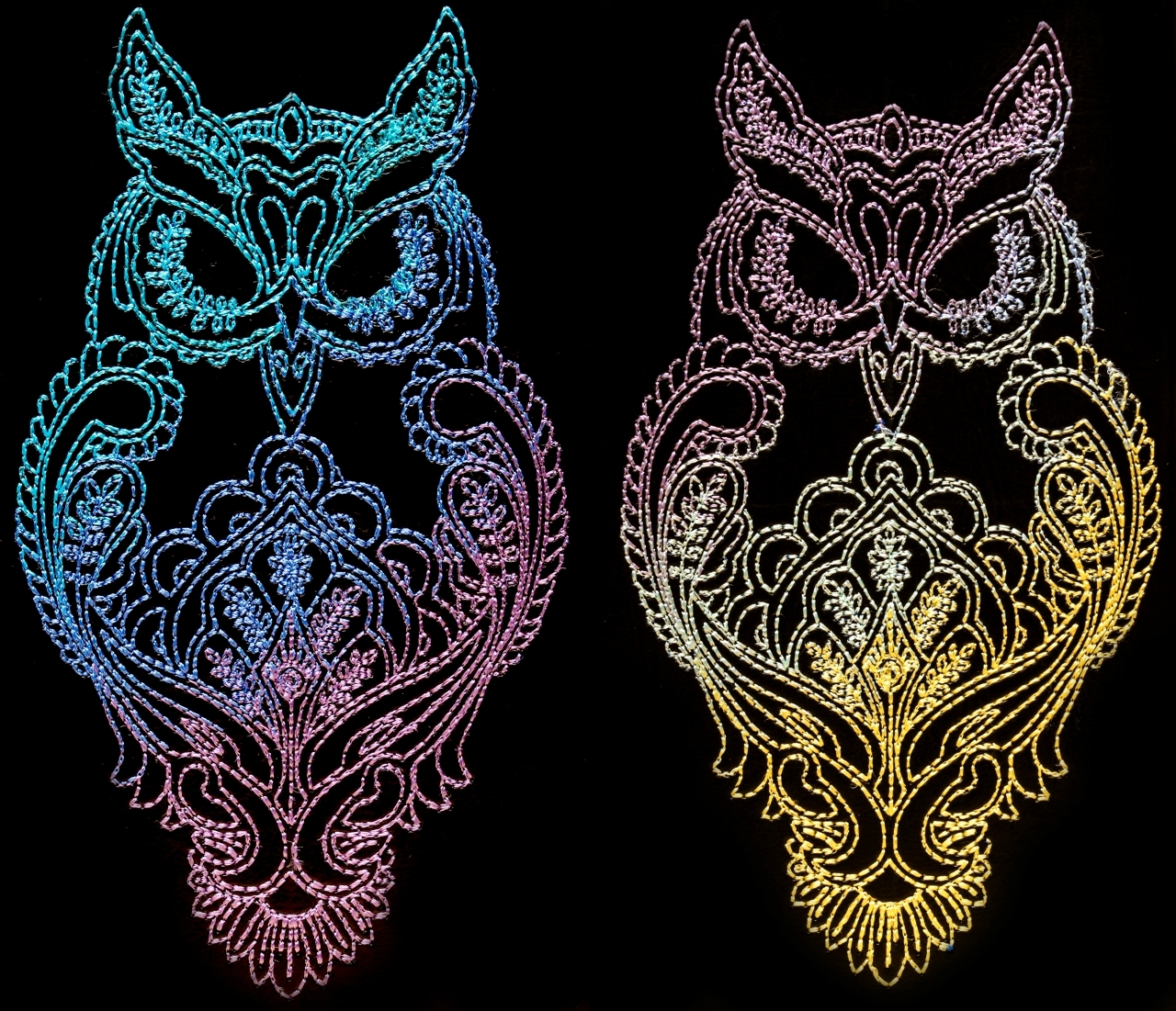 Two embroidered owls designs