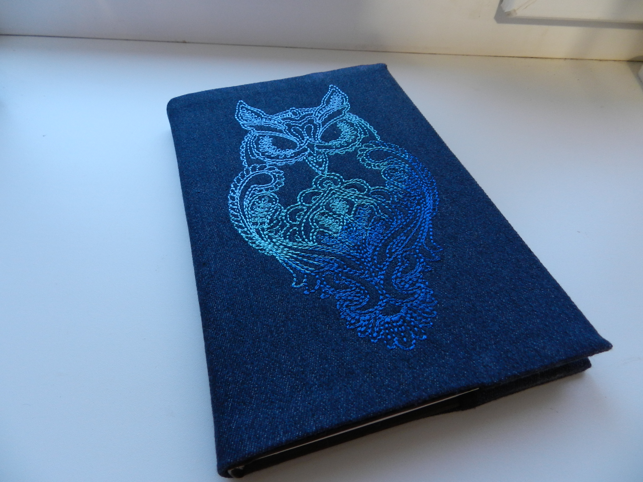 Embroidered book cover with owl free design