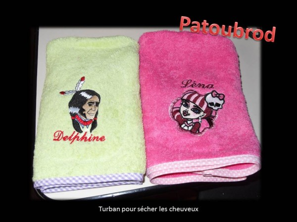 Monster High and native American embroidered on towels