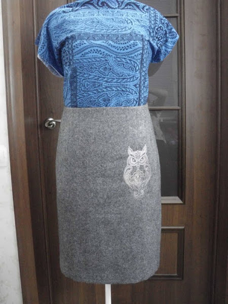 Owl blend design on skirt embroidered