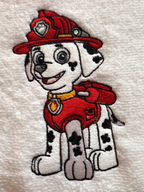 Puppy fireman embroidered on white towel