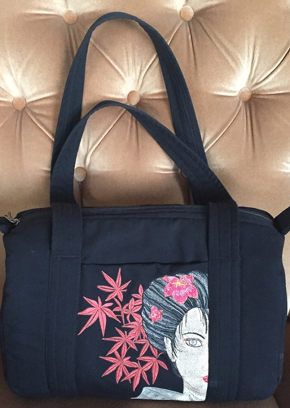 Geisha with Flower embroidered design on bag