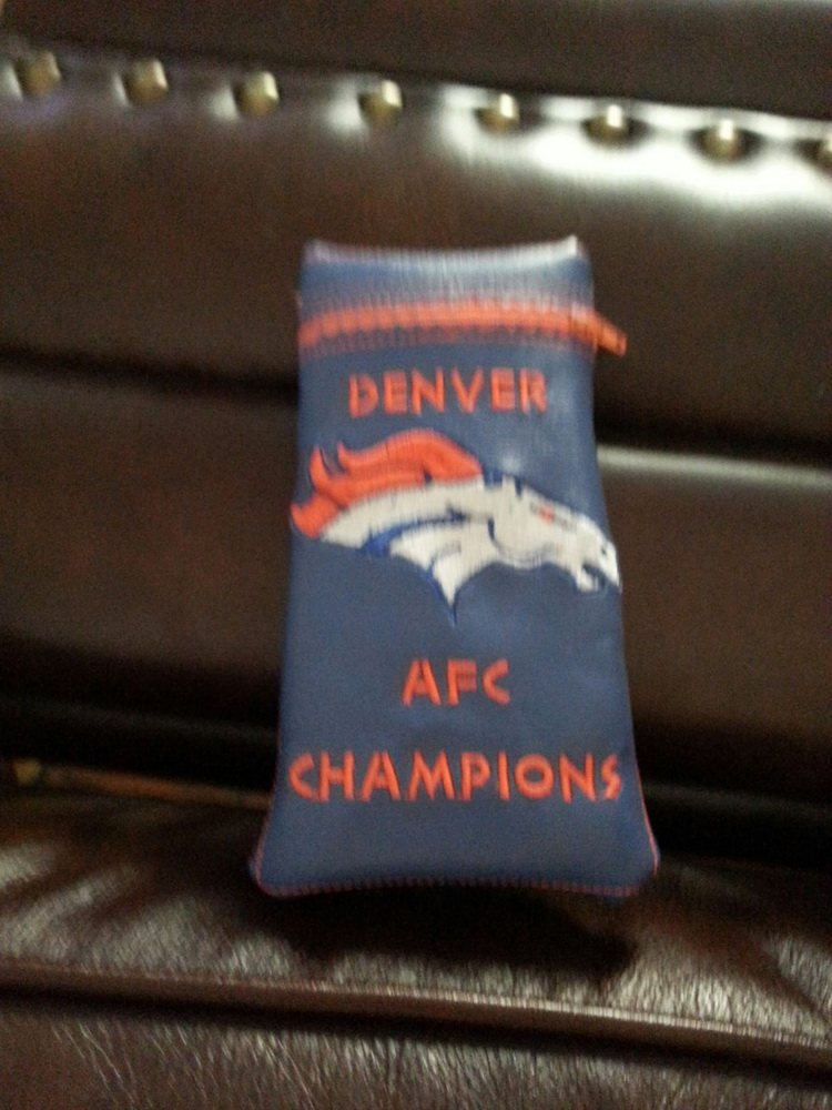 Denver Broncos Logo embroidered on small leather bag
