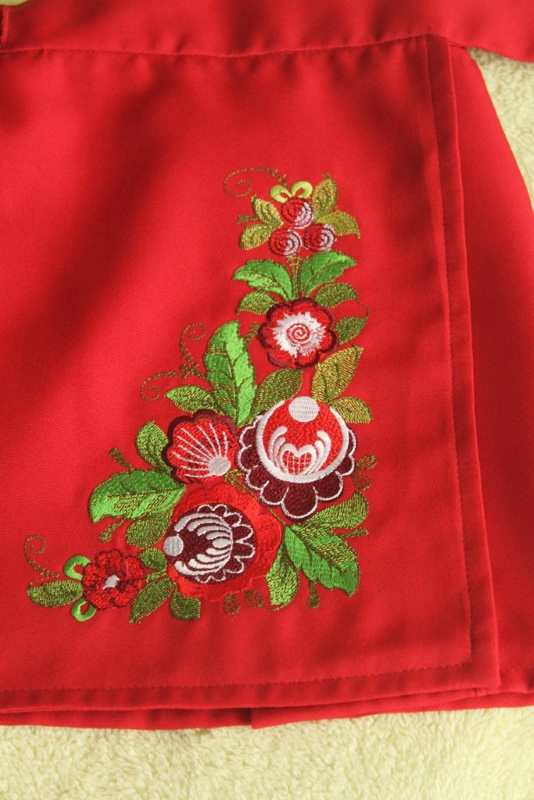 Kitchen apron with flower corner embroidery design