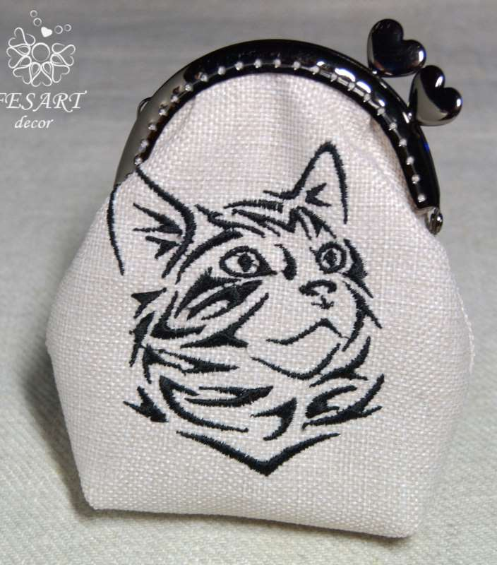 Small romantic wallet with muzzle tribal cat free embroidery