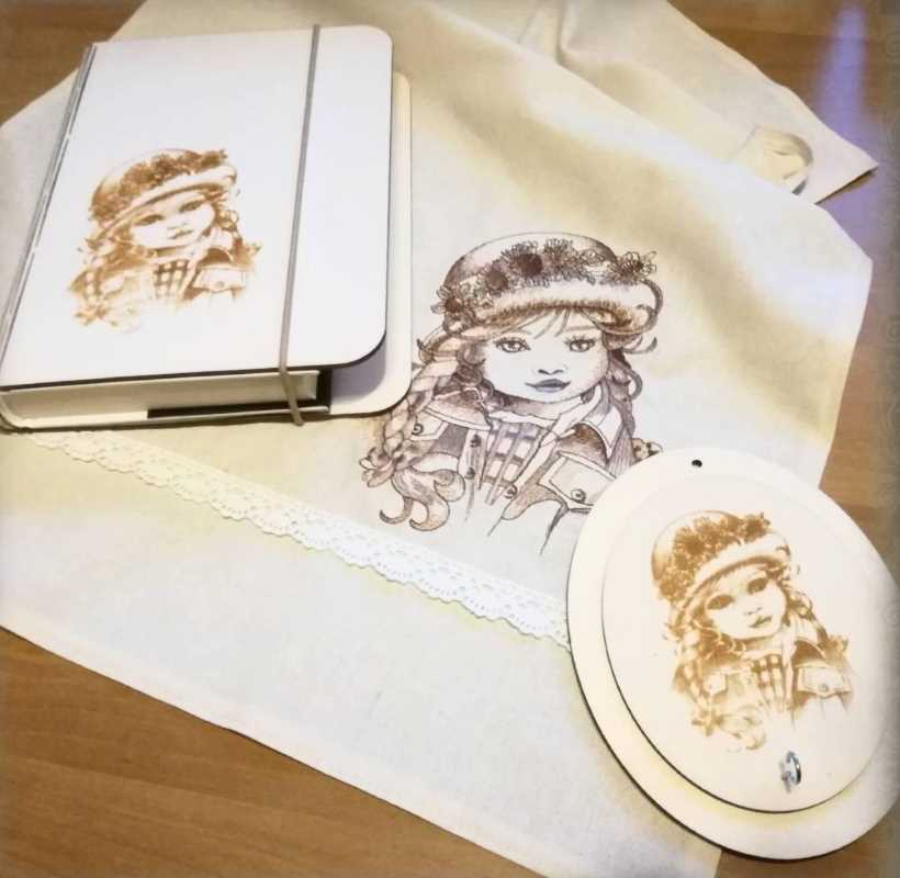 Vintage style embroidered napkin with little girl design