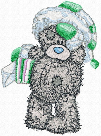 Teddy Bear winter mail machine embroidery design