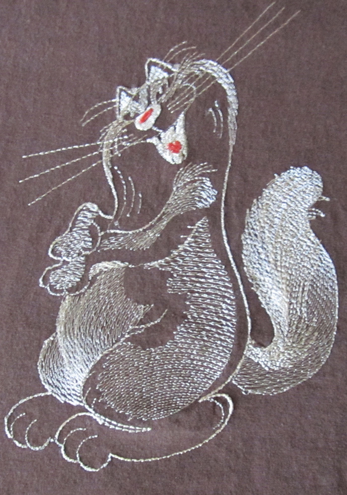 Embroidered Funny cat design