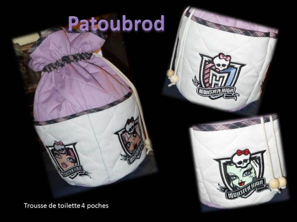 Monster High designs on bag embroidered