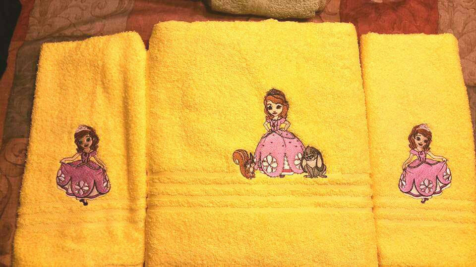 Sofia The First embroidery designs on towels