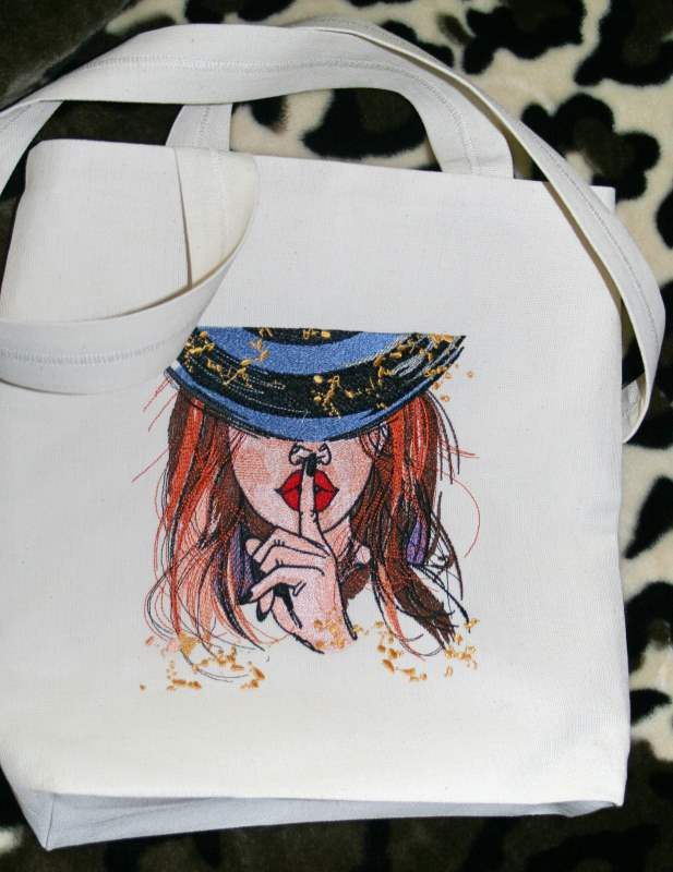 Shopping bag with red hair lady embroidery design