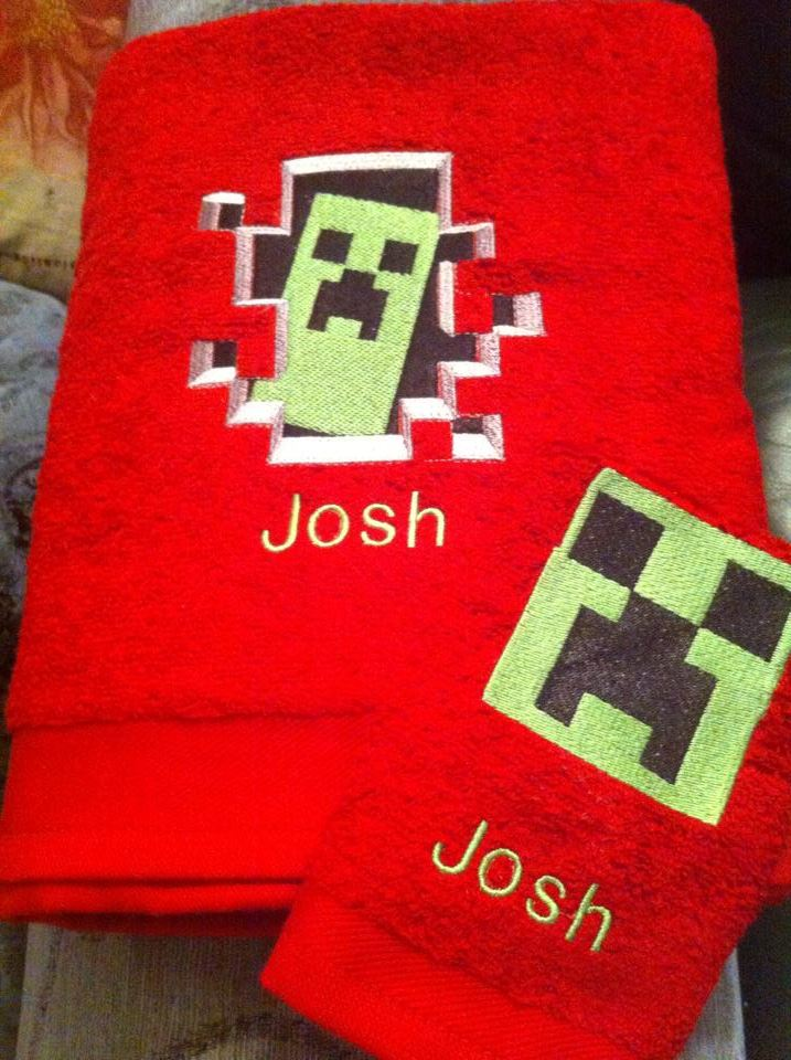 Creeper designs on towels embroidered