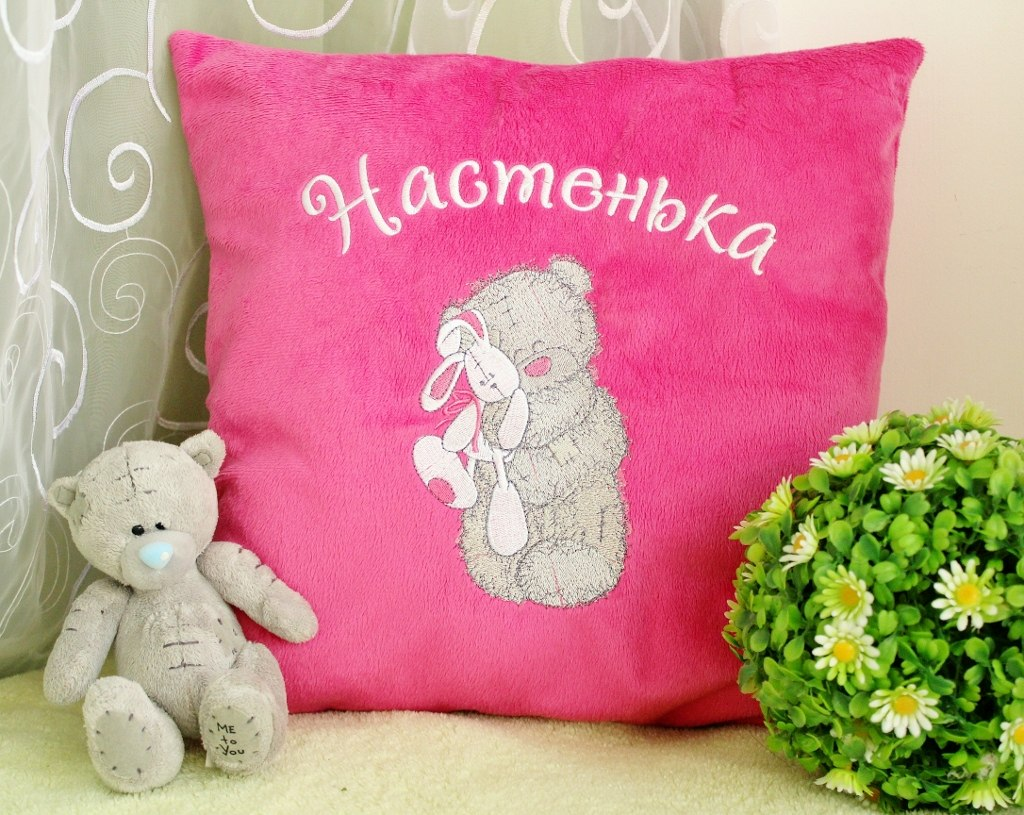 Embroidered pillowcase with tatty teddy design