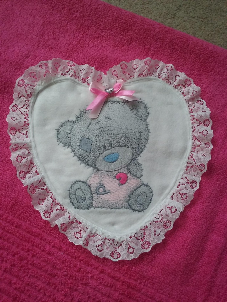 Heart with embroidered baby teddy bear