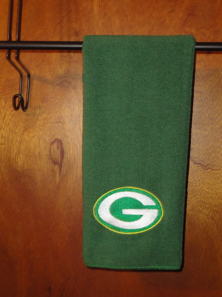 Embroidered Green Bay Packers Logo on green scarf