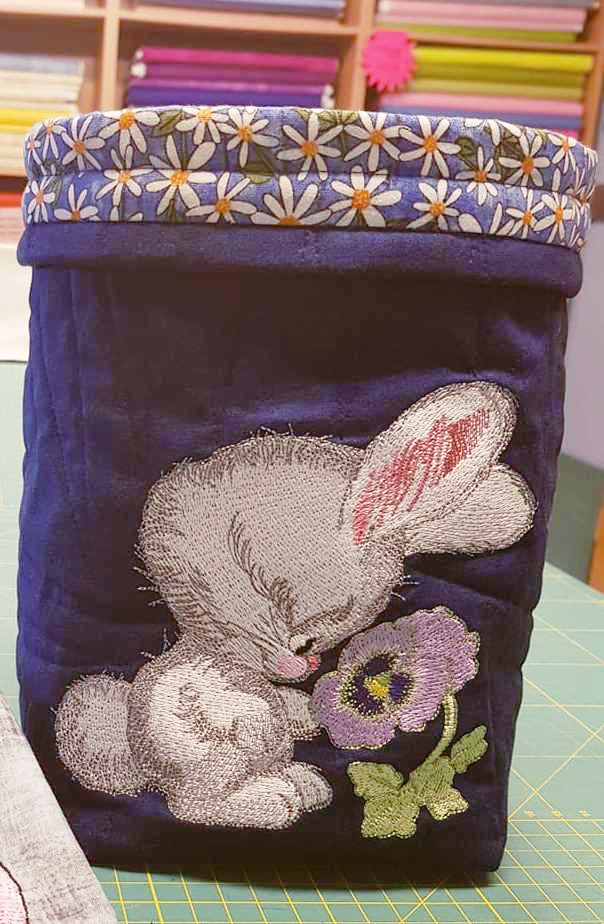 Embroidered bag with cute bunny design