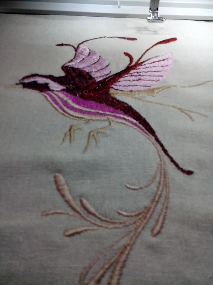 Fantastic bird embroidered design