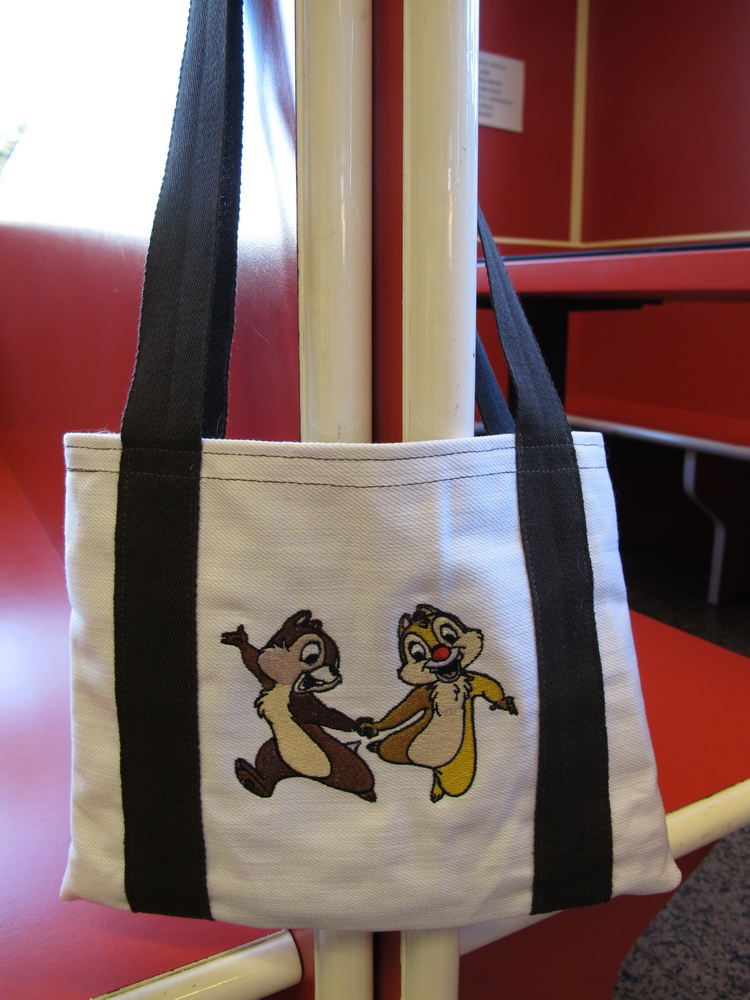 Chip and Dale design on bag embroidered