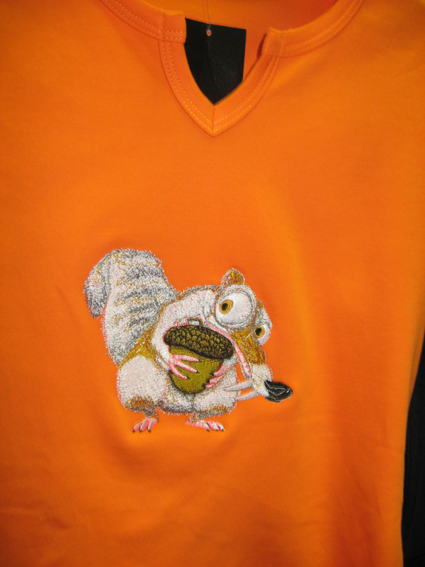 Scrat desig on t-shirt embroidered
