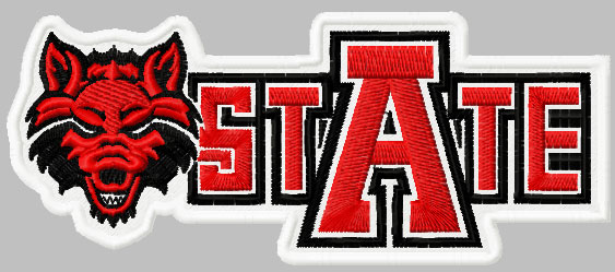 Arkansas Red Wolves state logo embroidery design