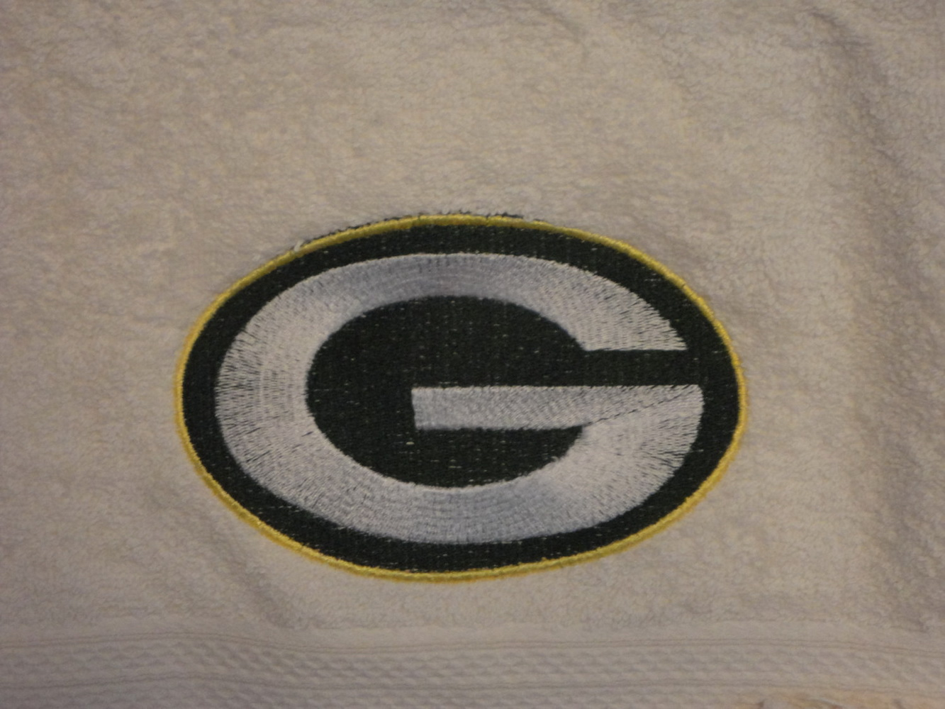 Embroidered Green Bay Packers Logo on bath towel