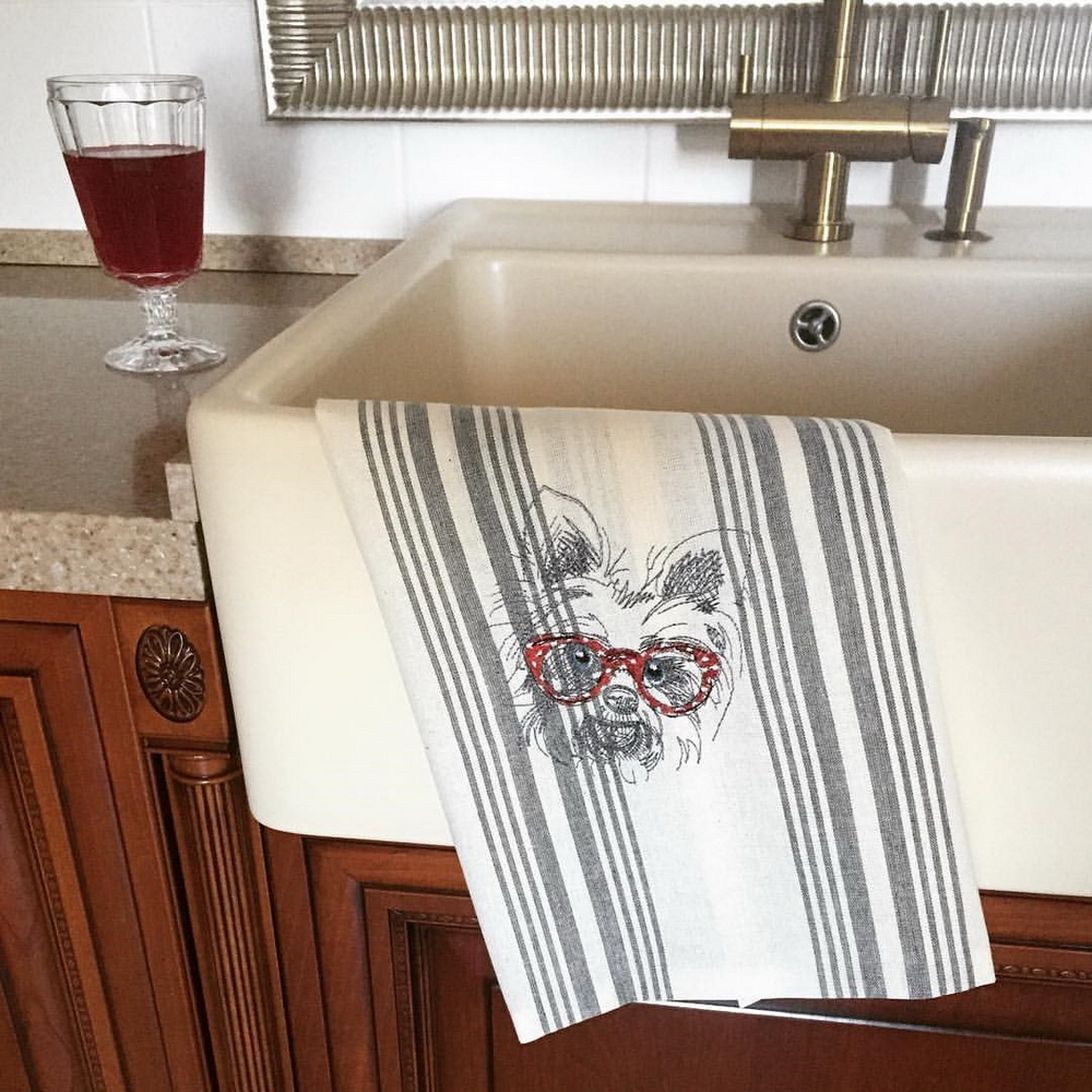 Embroidered stylish cute White terrier on towel