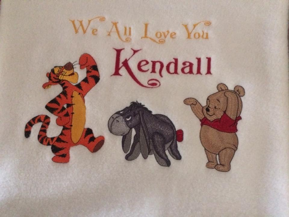 Towels with Baby Pooh and friends embroidery design
