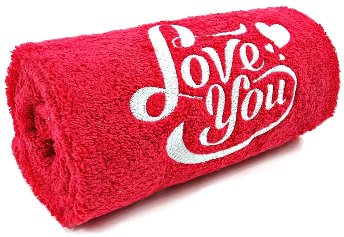 Red towel with Love You embroidery design
