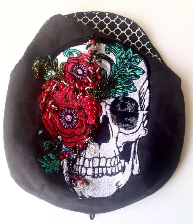 Modern bag with flower skull embroidery