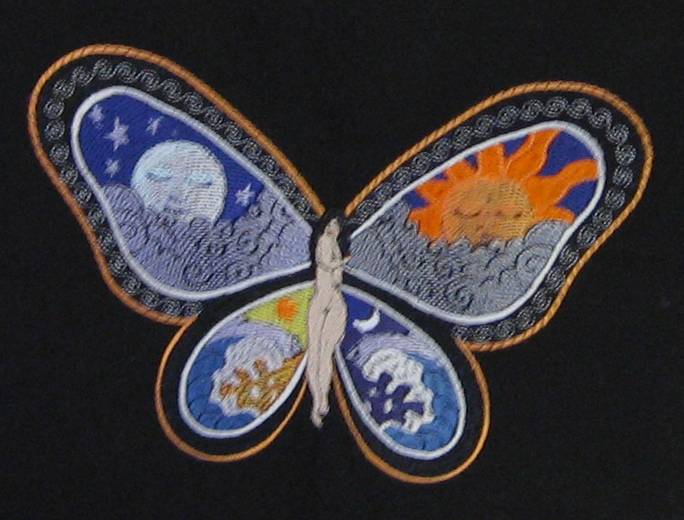 Embroidered bag with Fantastic Butterfly Night and Day design