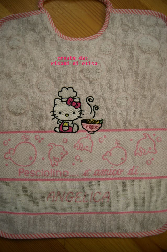Hello Kitty loves chinese food on bib embroidered