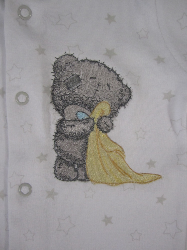 Baby wear with embroidered tatty teddy design