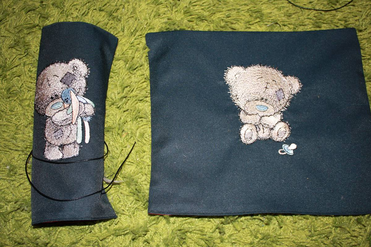 Hand made pencil-case with embroidered tatty teddy designs